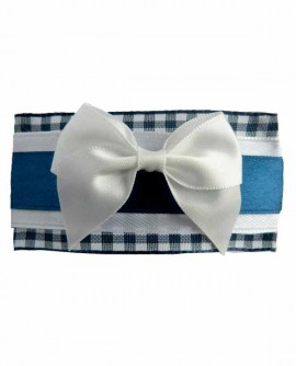 barrette clip pince à cheveux bleu et blanche en satin