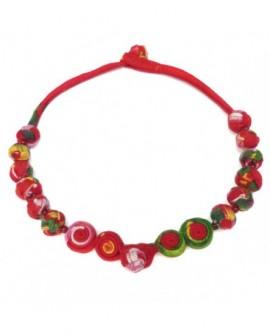 Jeu de boutons en coton multicolore tons rouge (Collier)