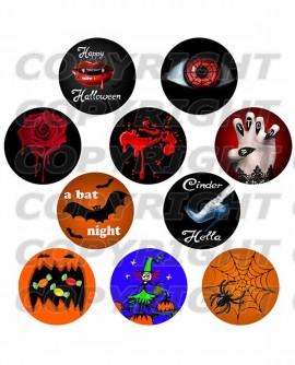 Images digitales cabochon Halloween gothique rond noir orange