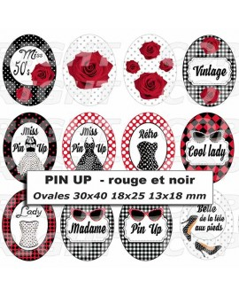 Images digitales cabochon Pin up rétro Rouge Noir Ovale