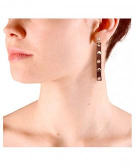 Boucles d'oreilles cuir métal steampunk marron argenté