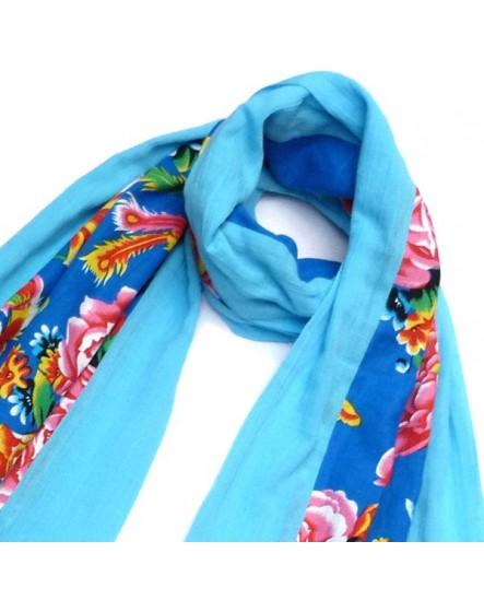 Echarpe coton bleu à motifs multicolores
