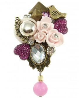 Broche shabby chic rose fleurs oiseau - Soyokay