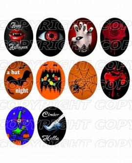Images digitales cabochon Halloween et gothique - 50 Images - Ovales