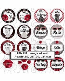 Images digitales cabochon Pin up rétro Rouge Noir - 54 Ovales