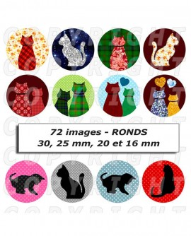 Images digitales cabochon silhouette chat motifs multicolore Ronds