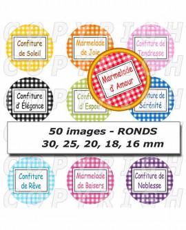 Images digitales cabochon confiture et marmelade aux fruits d'émotions carreaux vichy - 50 Ronds