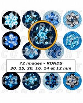 Images digitales cabochon fleurs japonaises bleu - 72 Ronds
