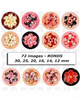 Images digitales cabochon fleurs japonaises potiron rose orange rouge ronds