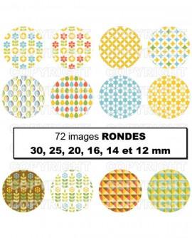 Images digitales cabochon motifs scandinaves bleu jaune vert Rondes