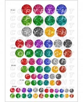 Images digitales cabochon thèmes paillettes multicolores Rond