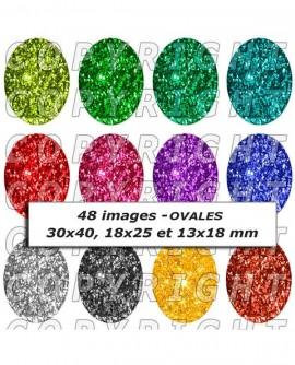 Images digitales cabochon thèmes paillettes multicolores or argent - 48 Ovales