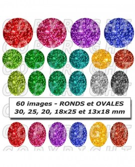 Images digitales cabochon thèmes paillettes multicolores métaux - 60 mixte rond ovale