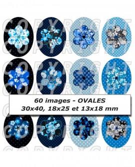 Images digitales cabochon fleurs japonaises bleu noir Ovales