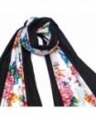 Echarpe coton noir et blanc à motifs multicolores