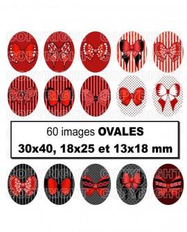 Images digitales cabochon noeuds papillons en rouge et noir sexy Ovales