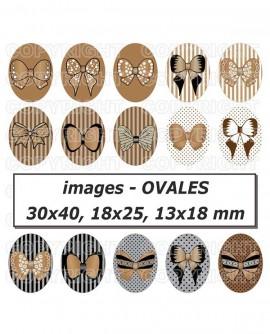 Images digitales cabochon noeuds en ruban marron sépia rétro Ovales