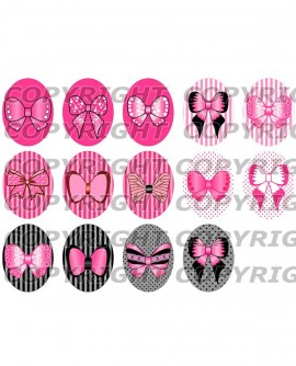 Images digitales cabochon noeuds de rubans rose bonbon kawaii Ovales