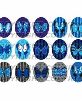 Images digitales cabochon noeuds papillon bleu gris noir Ovales
