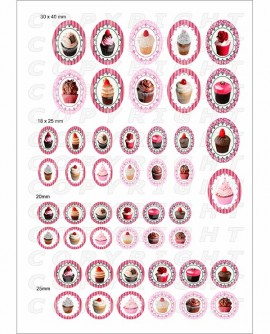 Images digitales cabochon cupcakes mixte rondes ovales