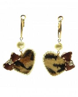 Boucles D'oreilles Créoles léopard dentelle