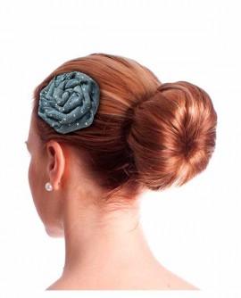 Pince à cheveux fleur plate jean pois rétro