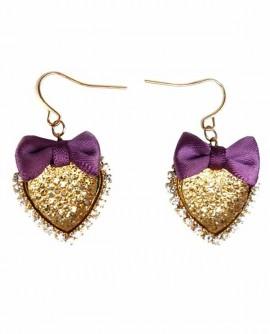 Boucles D'oreilles coeur doré strass