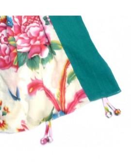 Echarpe coton vert et blanc à motifs multicolores