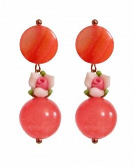 Boucles D'oreilles fleur rose saumon