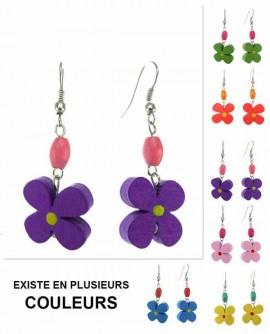 Boucles d'oreilles fleur bois coloré
