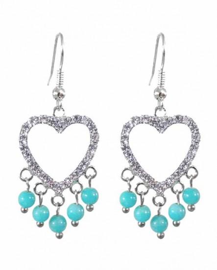 boucles d'oreilles coeur cristal