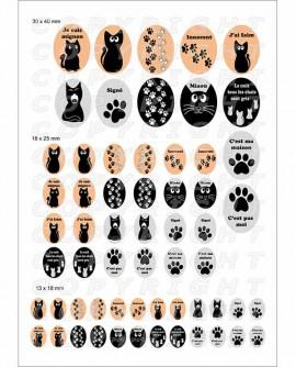 Chat noir silhouette - Images pour cabochon 60 mixte ovale parure
