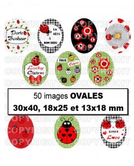 coccinelle rouge vert noir Images pour cabochon Ovales