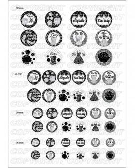 Pin up noir et blanc images pour cabochon rondes