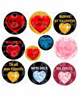 Saint Valentin st coeurs mots d'amour Images digitales cabochon Rondes