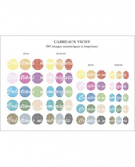 Carreaux vichy multicolore Images digitales cabochon Ronds ovales