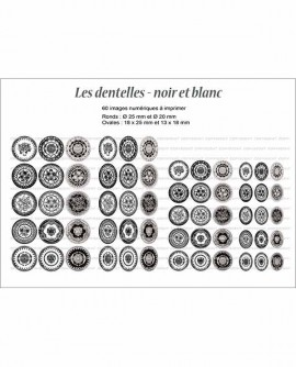 Motif dentelles noire et blanche Images cabochons Rond ovale