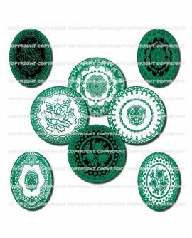 Motif dentelles vert émeraude images cabochons mixte rondes ovales