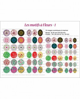 Motif fleuri Images cabochons Rondes ovales multicolore