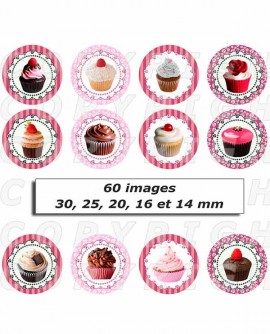 Images digitales cabochon cupcakes petits gateaux - 60 ronds