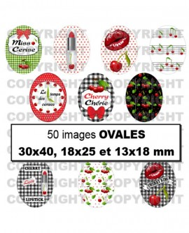 Images digitales cabochon Cerises Rouges - 50 Ronds