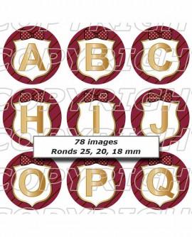 Alphabet initiales de prénom rouge bordeaux - Images digitales cabochon 72 ronds