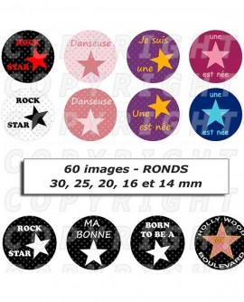 étoiles star du rock ou de la danse hollywood - Images cabochons 60 ronds