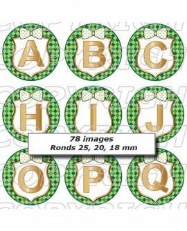 Alphabet abcédaire carreaux vert Images digitales cabochon ronds