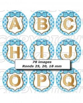 Alphabet initiales carreaux rétro bleu Images digitales cabochon