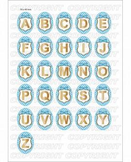 Alphabet bleu clair - Images digitales cabochon 72 Ovales