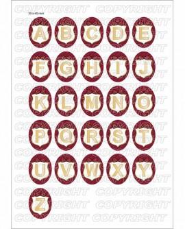 Alphabet or rouge bordeaux Images digitales cabochon