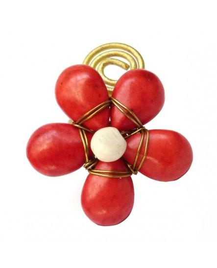 Bague ajustable fleur rouge et dorée