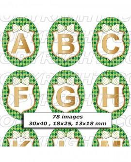 Alphabet doré et vert Images digitales cabochon Ovale