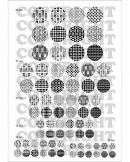 Motifs suédois rétro noir et blanc Images digitales cabochons Ronds